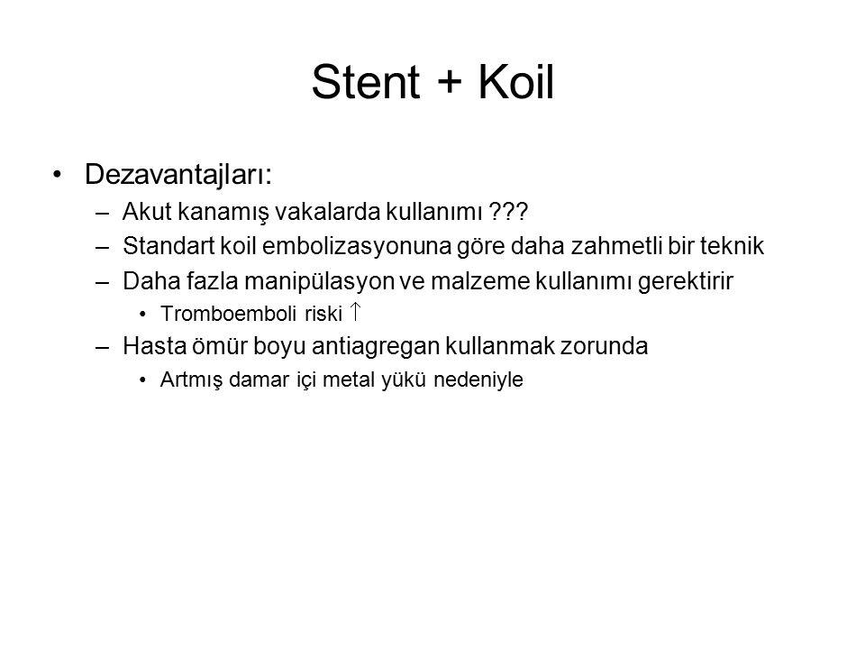 Stent + Koil Dezavantajları: –Akut kanamış vakalarda kullanımı ??? –Standart koil embolizasyonuna göre daha zahmetli bir teknik –Daha fazla manipülasy