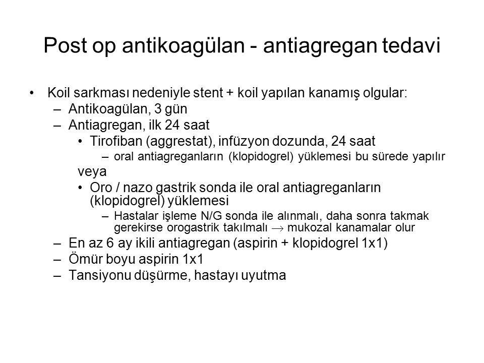 Post op antikoagülan - antiagregan tedavi Koil sarkması nedeniyle stent + koil yapılan kanamış olgular: –Antikoagülan, 3 gün –Antiagregan, ilk 24 saat