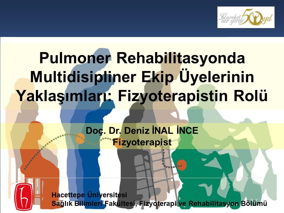 Pulmoner Rehabilitasyonda Multidisipliner Ekip Üyelerinin Yaklaşımları: Fizyoterapistin Rolü Doç. Dr. Deniz İNAL İNCE Fizyoterapist Hacettepe Üniversi