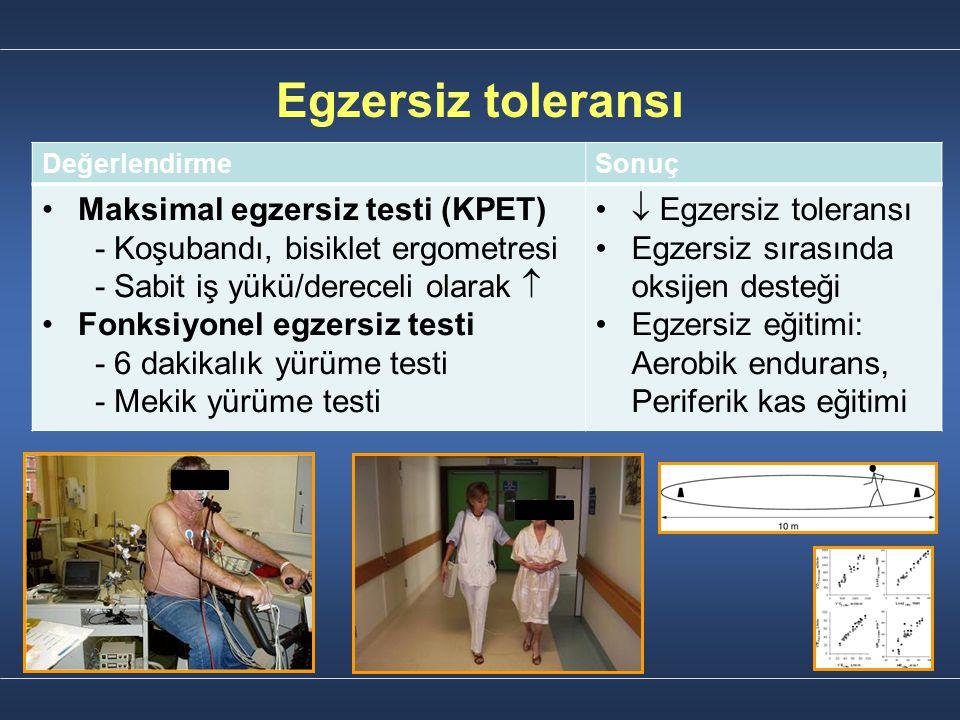Egzersiz toleransı DeğerlendirmeSonuç Maksimal egzersiz testi (KPET) - Koşubandı, bisiklet ergometresi - Sabit iş yükü/dereceli olarak  Fonksiyonel e
