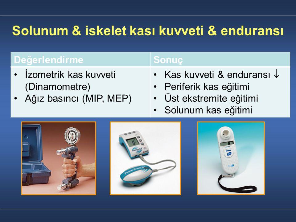 Solunum & iskelet kası kuvveti & enduransı DeğerlendirmeSonuç İzometrik kas kuvveti (Dinamometre) Ağız basıncı (MIP, MEP) Kas kuvveti & enduransı  Pe
