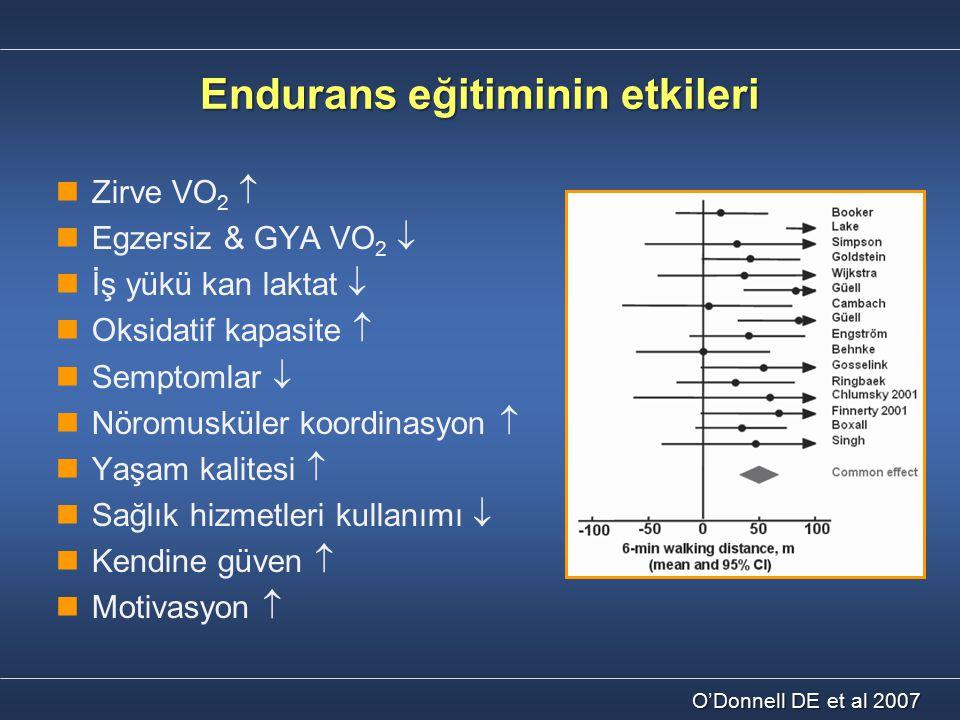 Endurans eğitiminin etkileri Zirve VO 2  Egzersiz & GYA VO 2  İş yükü kan laktat  Oksidatif kapasite  Semptomlar  Nöromusküler koordinasyon  Yaş