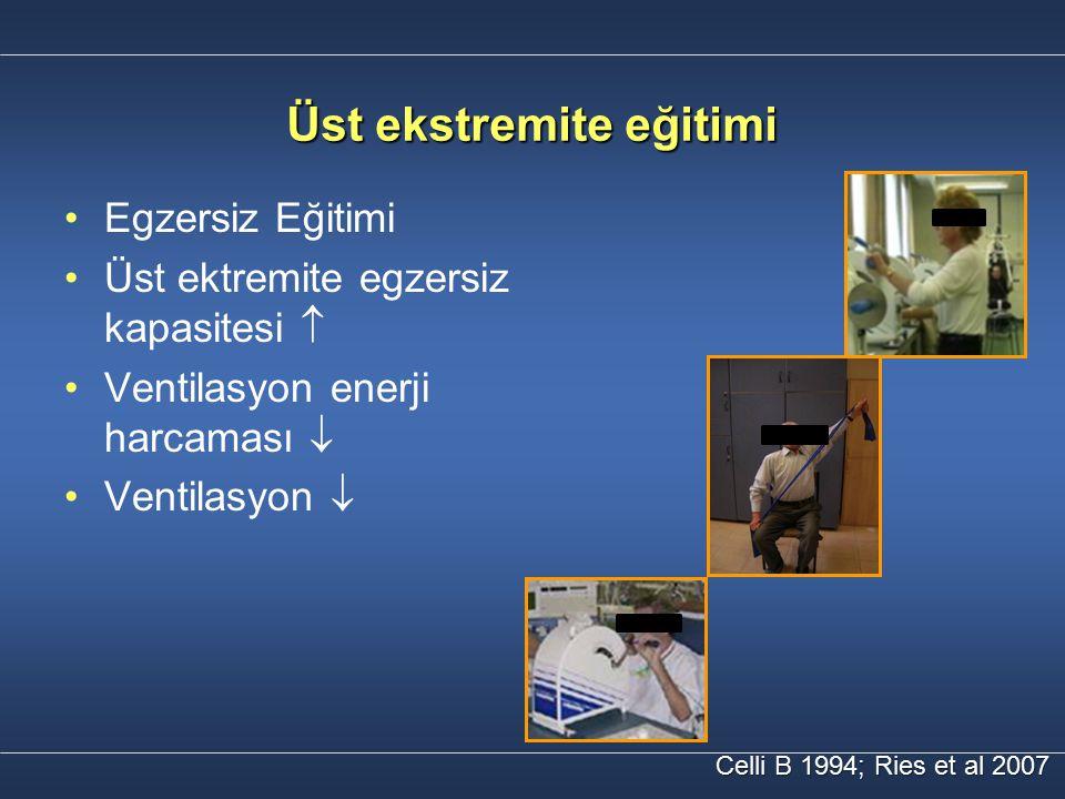 Üst ekstremite eğitimi Celli B 1994; Ries et al 2007 Egzersiz Eğitimi Üst ektremite egzersiz kapasitesi  Ventilasyon enerji harcaması  Ventilasyon 