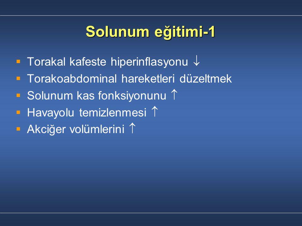 Solunum eğitimi-1   Torakal kafeste hiperinflasyonu    Torakoabdominal hareketleri düzeltmek   Solunum kas fonksiyonunu    Havayolu temizlen