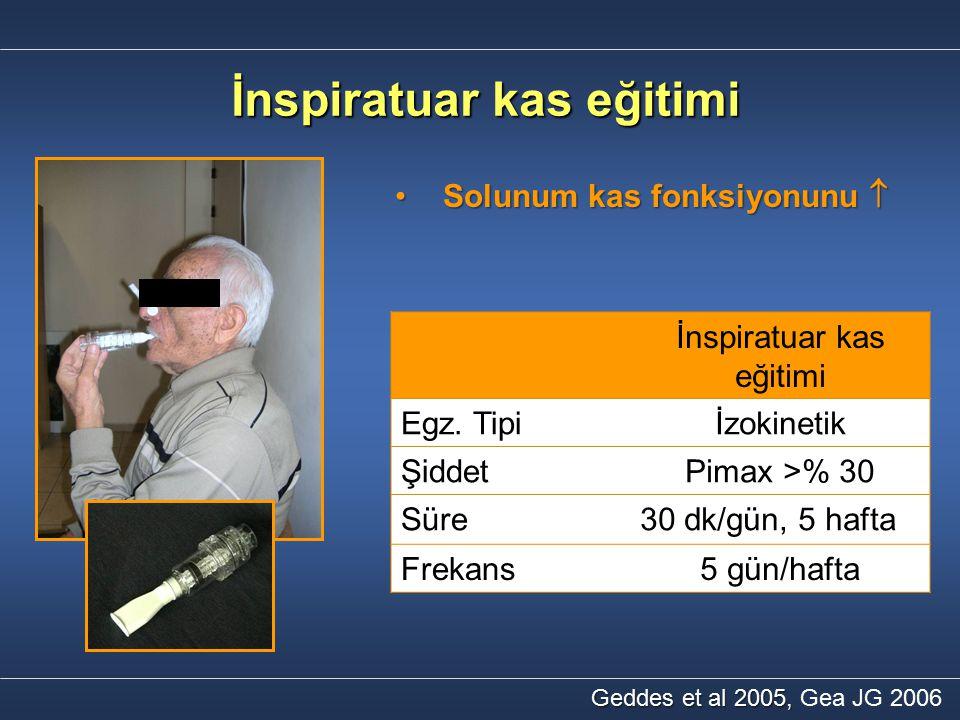İnspiratuar kas eğitimi Solunum kas fonksiyonunu Solunum kas fonksiyonunu  Geddes et al 2005, Geddes et al 2005, Gea JG 2006 İnspiratuar kas eğitimi
