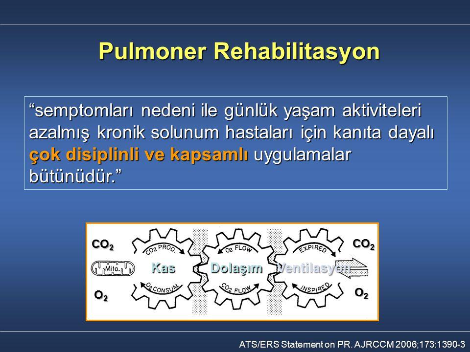 """Pulmoner Rehabilitasyon """"semptomları nedeni ile günlük yaşam aktiviteleri azalmış kronik solunum hastaları için kanıta dayalı çok disiplinli ve kapsam"""