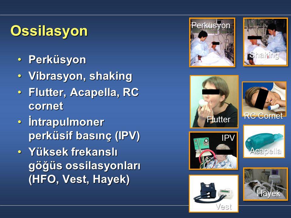 Ossilasyon PerküsyonPerküsyon Vibrasyon, shakingVibrasyon, shaking Flutter, Acapella, RC cornetFlutter, Acapella, RC cornet İntrapulmoner perküsif bas