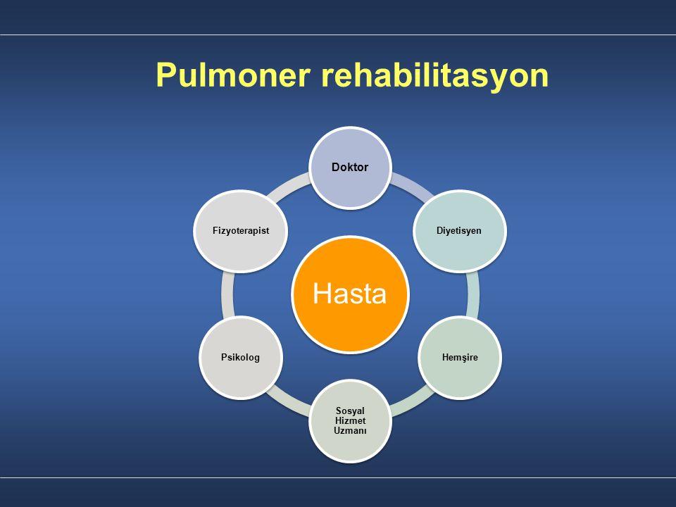 Pulmoner rehabilitasyon Şeffaflık Kayıt tutma Bilgilendirme: Sonuçlar, kazanımlar & değişiklikler İletişim Kooperasyon İş birliği Hasta Doktor Diyetisyen Hemşire Sosyal Hizmet Uzmanı Psikolog Fizyoterapist