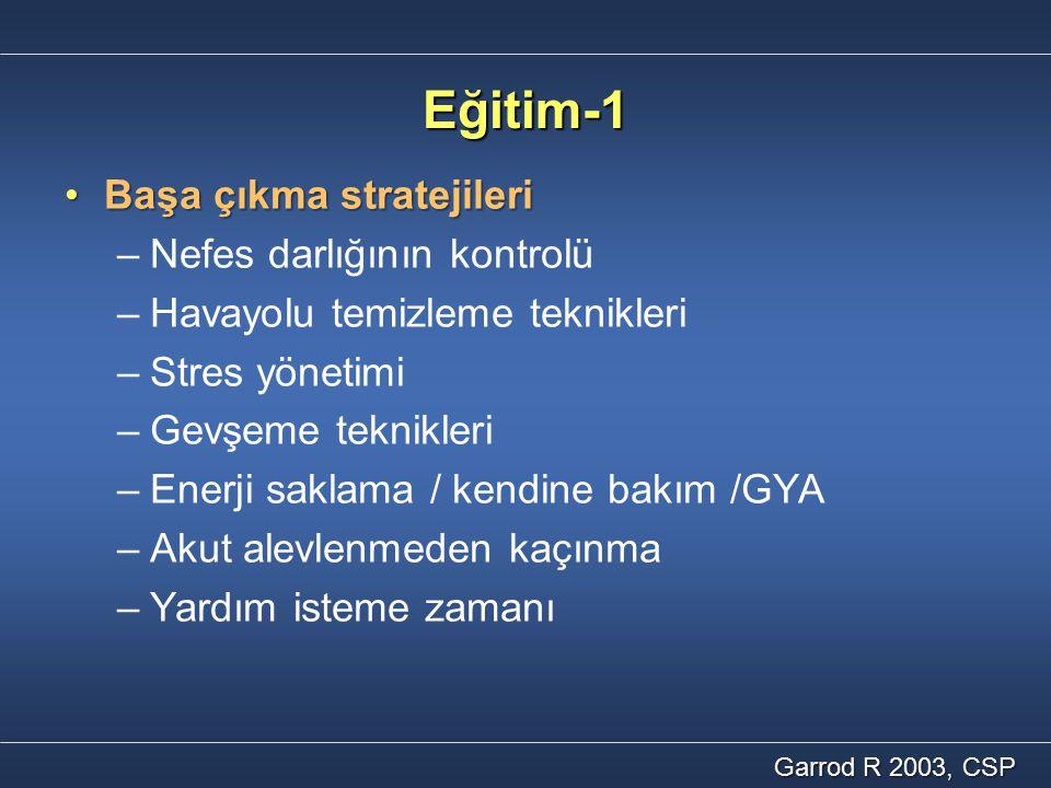 Eğitim-1 Başa çıkma stratejileriBaşa çıkma stratejileri – –Nefes darlığının kontrolü – –Havayolu temizleme teknikleri – –Stres yönetimi – –Gevşeme tek