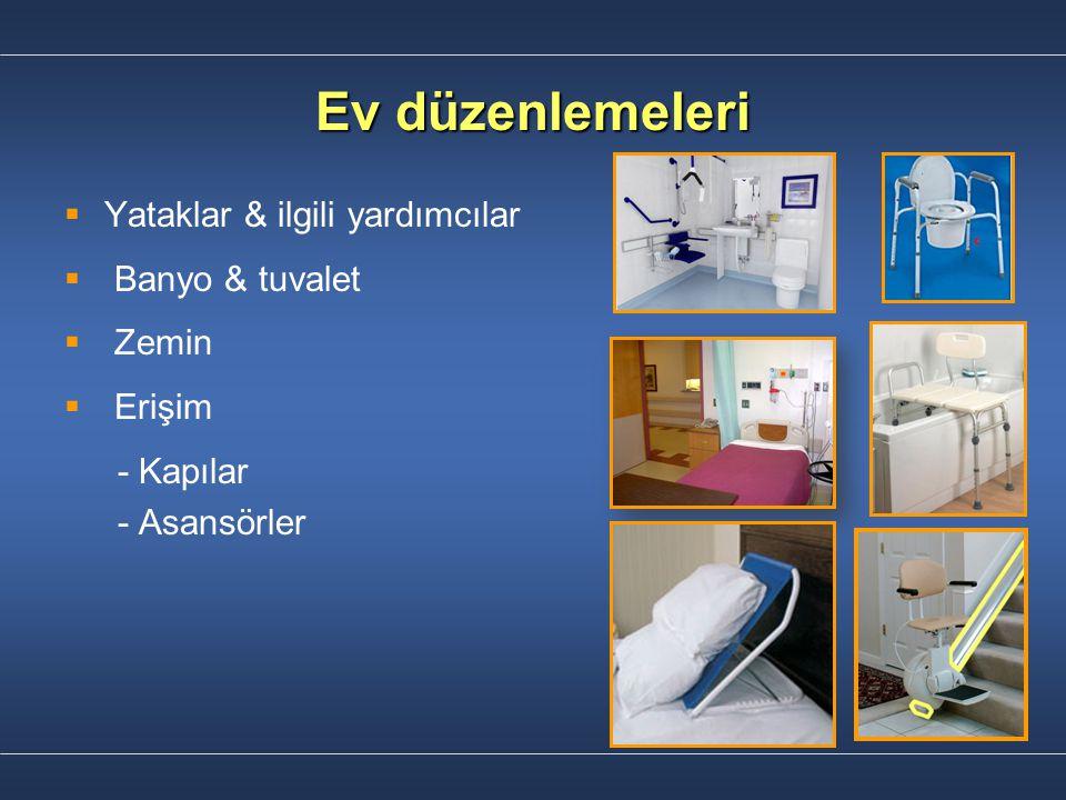 Ev düzenlemeleri   Yataklar & ilgili yardımcılar   Banyo & tuvalet   Zemin   Erişim - Kapılar - Asansörler
