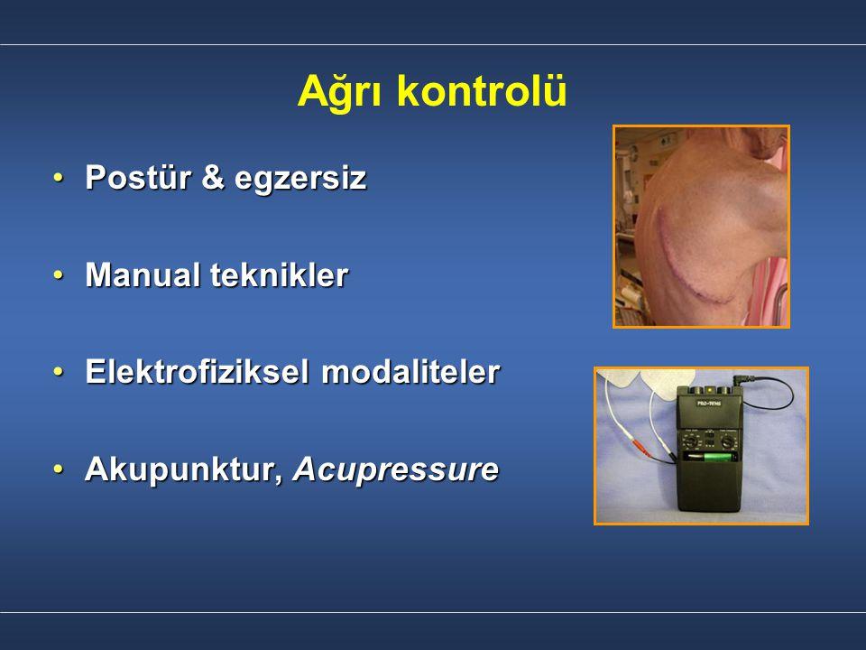 Ağrı kontrolü Postür & egzersizPostür & egzersiz Manual tekniklerManual teknikler Elektrofiziksel modalitelerElektrofiziksel modaliteler Akupunktur, A