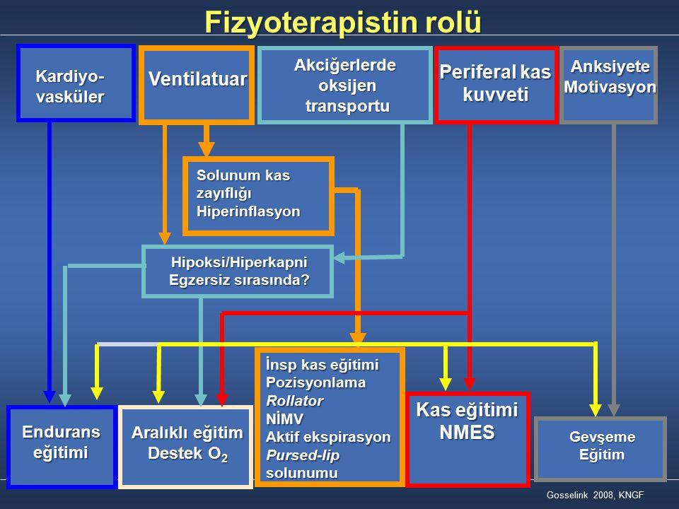 Kardiyo-vasküler Ventilatuar Akciğerlerdeoksijen transportu transportu Periferal kas kuvveti kuvveti AnksiyeteMotivasyon Solunum kas zayıflığı Hiperin