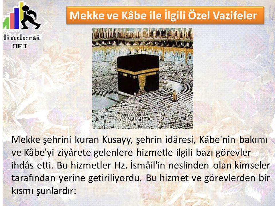 Mekke şehrini kuran Kusayy, şehrin idâresi, Kâbe'nin bakımı ve Kâbe'yi ziyârete gelenlere hizmetle ilgili bazı görevler ihdâs etti. Bu hizmetler Hz. İ