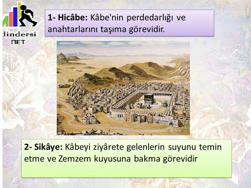 2- Sikâye: Kâbeyi ziyârete gelenlerin suyunu temin etme ve Zemzem kuyusuna bakma görevidir 1- Hicâbe: Kâbe'nin perdedarlığı ve anahtarlarını taşıma gö