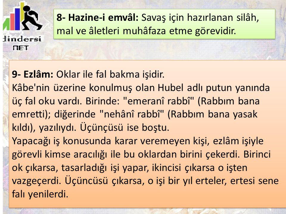9- Ezlâm: Oklar ile fal bakma işidir. Kâbe'nin üzerine konulmuş olan Hubel adlı putun yanında üç fal oku vardı. Birinde: