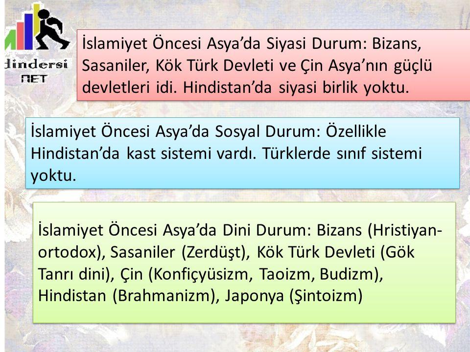 İslamiyet Öncesi Asya'da Dini Durum: Bizans (Hristiyan- ortodox), Sasaniler (Zerdüşt), Kök Türk Devleti (Gök Tanrı dini), Çin (Konfiçyüsizm, Taoizm, B