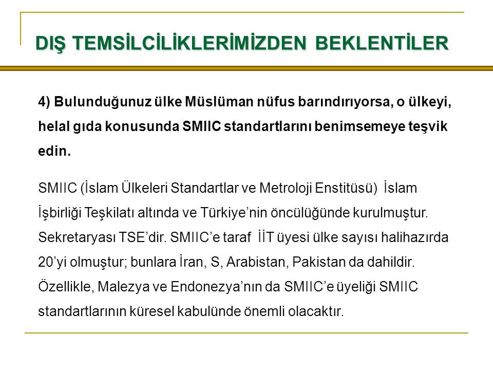 4) Bulunduğunuz ülke Müslüman nüfus barındırıyorsa, o ülkeyi, helal gıda konusunda SMIIC standartlarını benimsemeye teşvik edin.