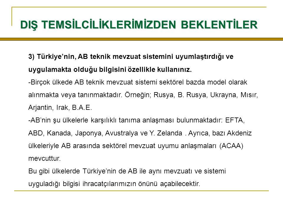 3) Türkiye'nin, AB teknik mevzuat sistemini uyumlaştırdığı ve uygulamakta olduğu bilgisini özellikle kullanınız.