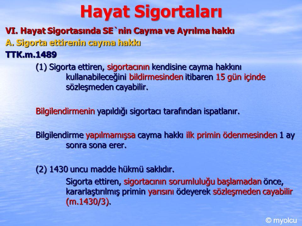 Hayat Sigortaları VI.Hayat Sigortasında SE`nin Cayma ve Ayrılma hakkı A.