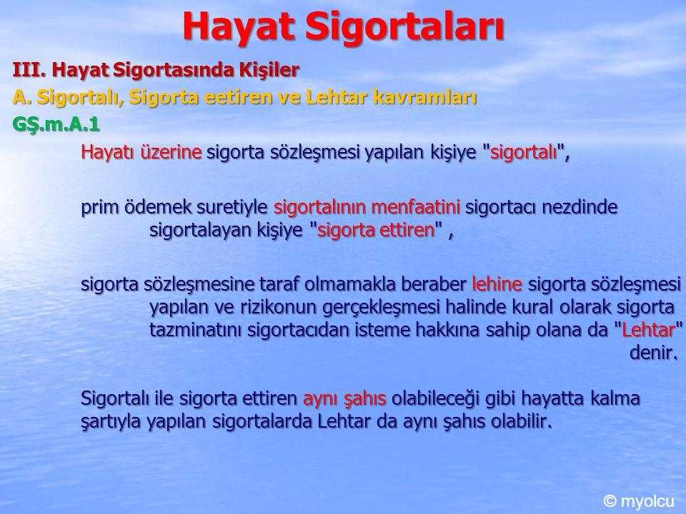 Hayat Sigortaları III.Hayat Sigortasında Kişiler A.