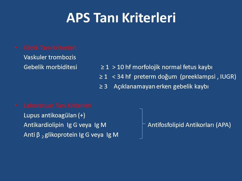 APS Tanı Kriterleri Klinik Tanı Kriterleri Vaskuler trombozis Gebelik morbiditesi ≥ 1 > 10 hf morfolojik normal fetus kaybı ≥ 1 < 34 hf preterm doğum
