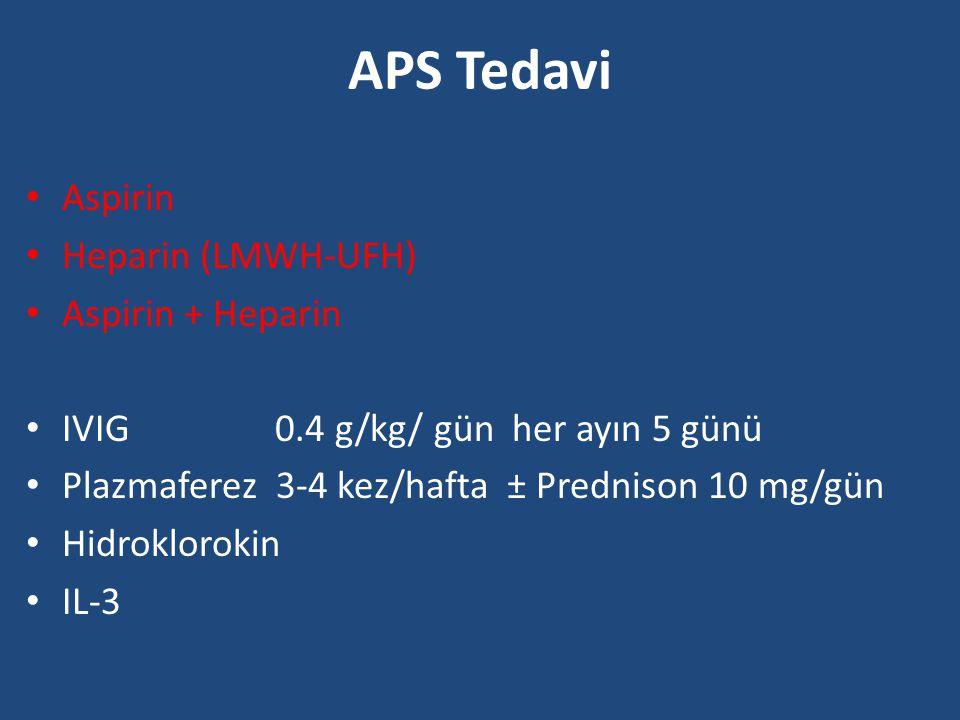 APS Tedavi Aspirin Heparin (LMWH-UFH) Aspirin + Heparin IVIG 0.4 g/kg/ gün her ayın 5 günü Plazmaferez 3-4 kez/hafta ± Prednison 10 mg/gün Hidroklorok