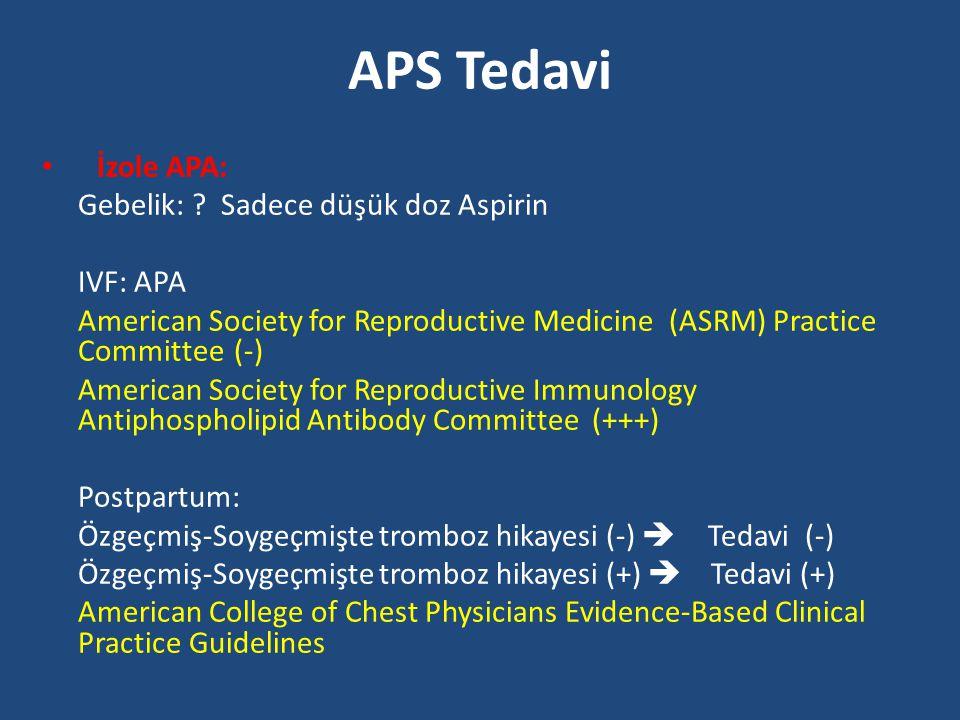 APS Tedavi İzole APA: Gebelik: ? Sadece düşük doz Aspirin IVF: APA American Society for Reproductive Medicine (ASRM) Practice Committee(-) American So