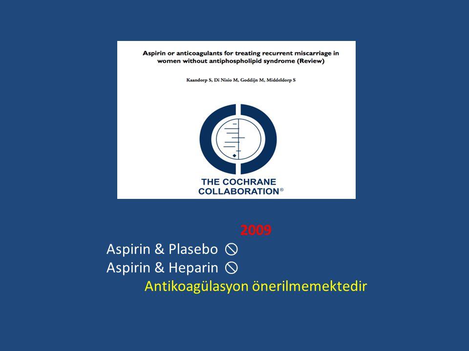 2009 Aspirin & Plasebo  Aspirin & Heparin  Antikoagülasyon önerilmemektedir
