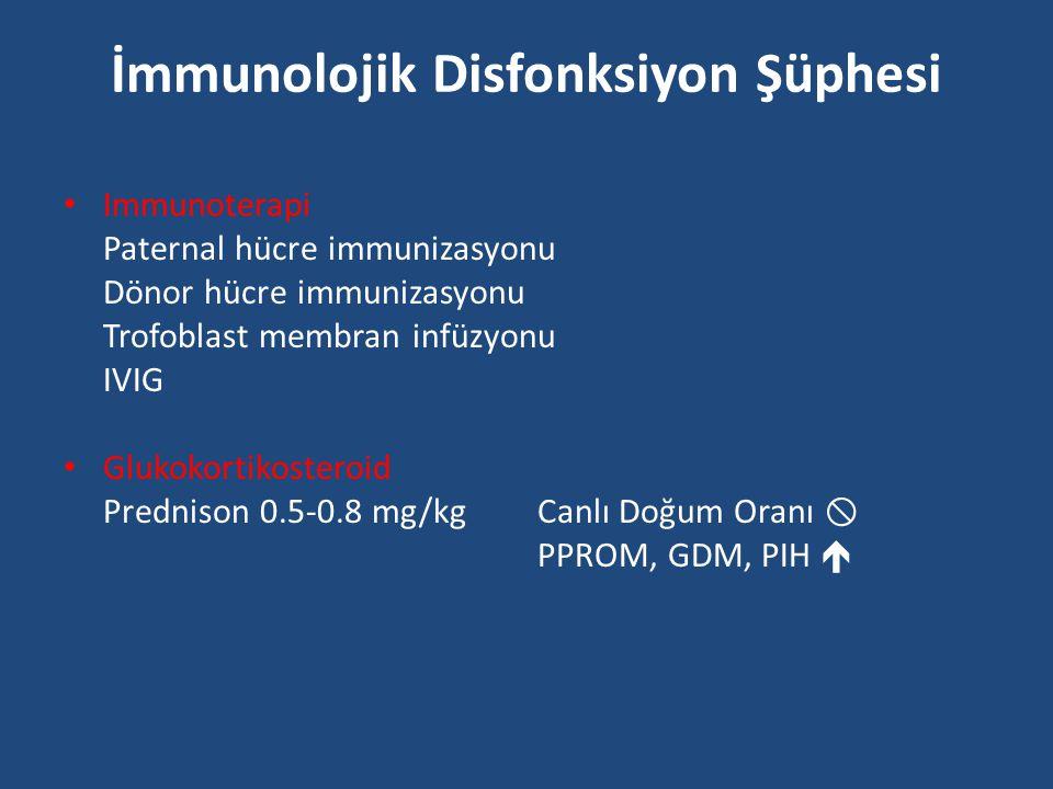 İmmunolojik Disfonksiyon Şüphesi Immunoterapi Paternal hücre immunizasyonu Dönor hücre immunizasyonu Trofoblast membran infüzyonu IVIG Glukokortikoste