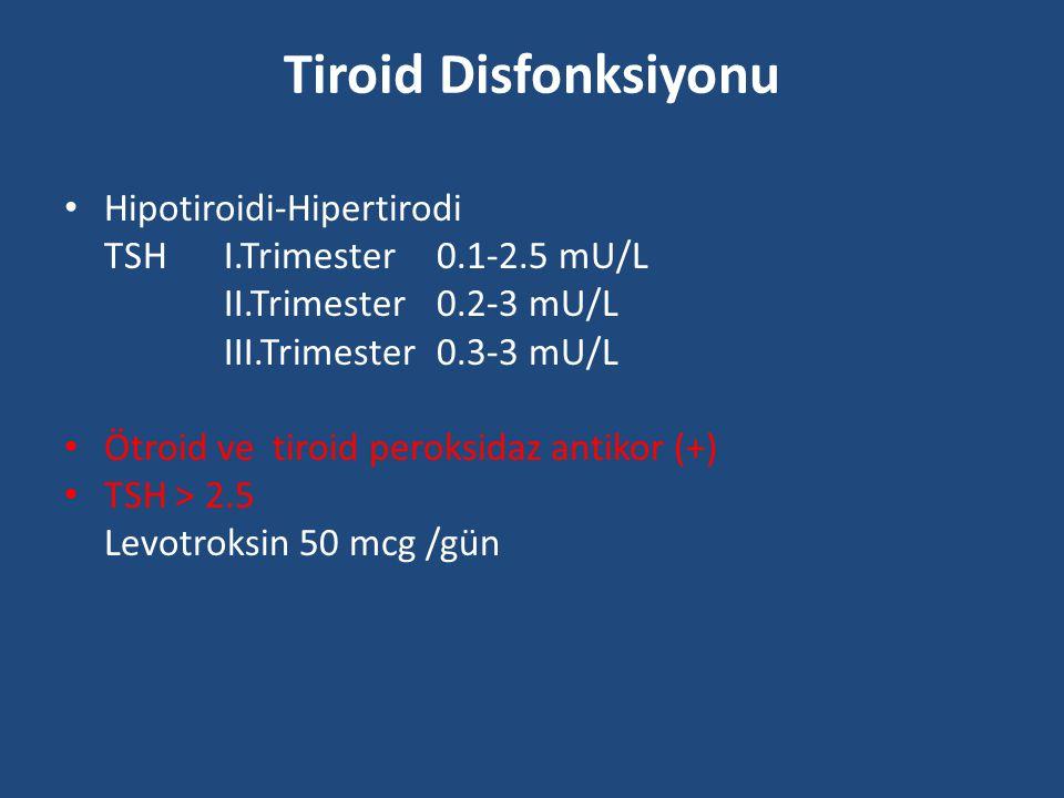 Tiroid Disfonksiyonu Hipotiroidi-Hipertirodi TSH I.Trimester 0.1-2.5 mU/L II.Trimester0.2-3 mU/L III.Trimester0.3-3 mU/L Ötroid ve tiroid peroksidaz a