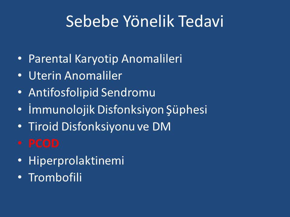 Sebebe Yönelik Tedavi Parental Karyotip Anomalileri Uterin Anomaliler Antifosfolipid Sendromu İmmunolojik Disfonksiyon Şüphesi Tiroid Disfonksiyonu ve