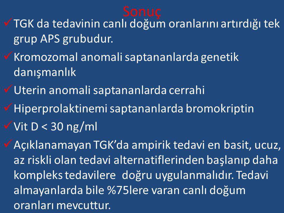 Sonuç TGK da tedavinin canlı doğum oranlarını artırdığı tek grup APS grubudur. Kromozomal anomali saptananlarda genetik danışmanlık Uterin anomali sap