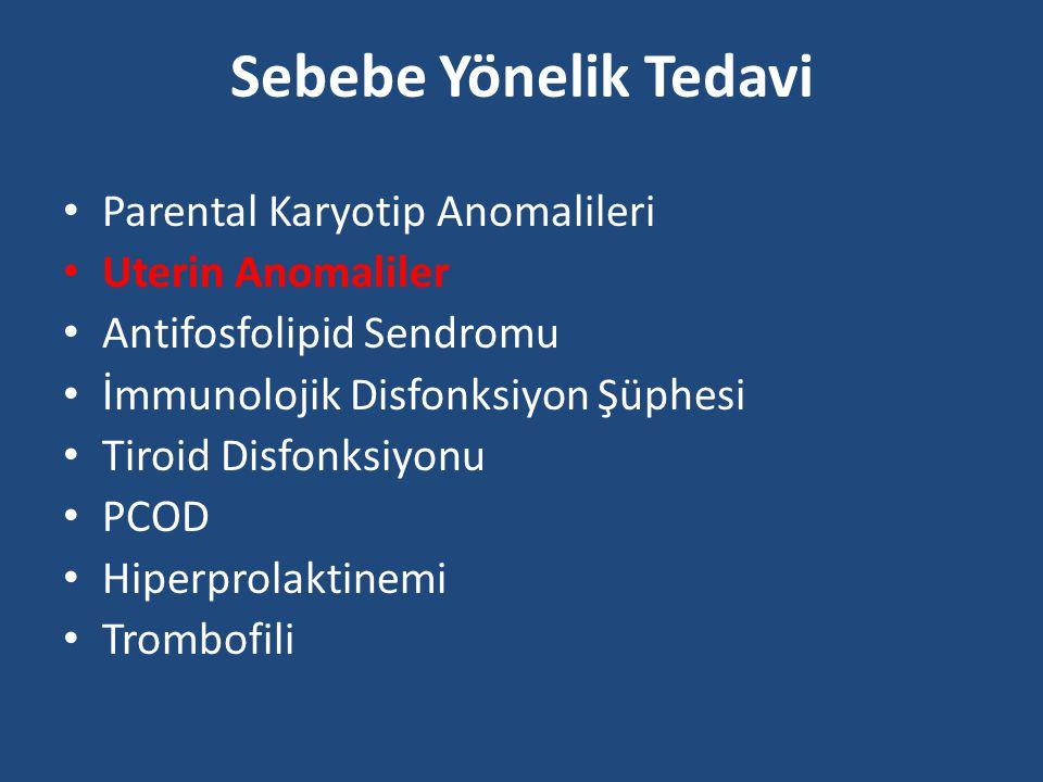 Sebebe Yönelik Tedavi Parental Karyotip Anomalileri Uterin Anomaliler Antifosfolipid Sendromu İmmunolojik Disfonksiyon Şüphesi Tiroid Disfonksiyonu PC