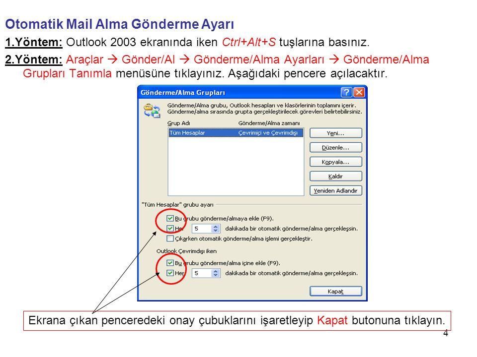 4 Otomatik Mail Alma Gönderme Ayarı 1.Yöntem: Outlook 2003 ekranında iken Ctrl+Alt+S tuşlarına basınız. 2.Yöntem: Araçlar  Gönder/Al  Gönderme/Alma