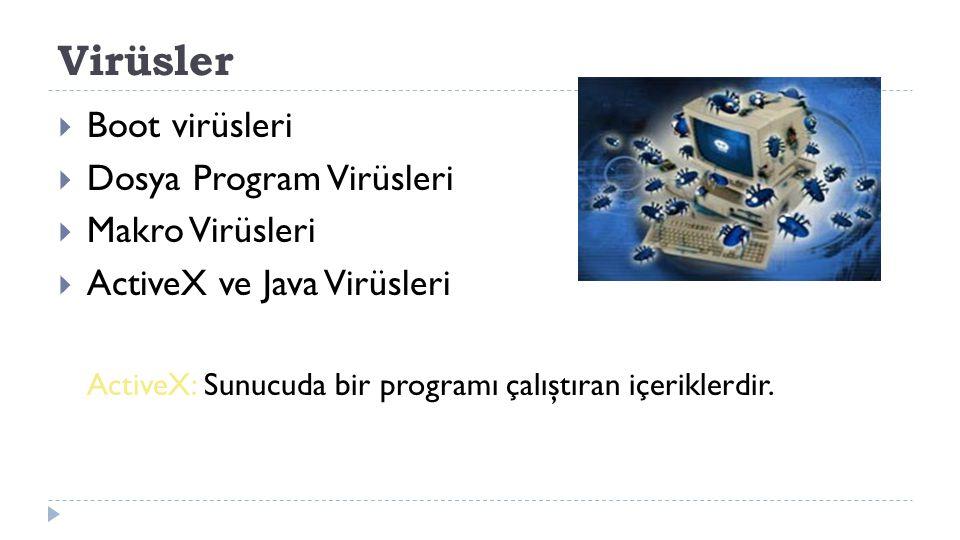 Virüsler  Boot virüsleri  Dosya Program Virüsleri  Makro Virüsleri  ActiveX ve Java Virüsleri ActiveX: Sunucuda bir programı çalıştıran içeriklerd