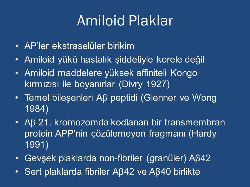 Amiloid Plaklar AP'ler ekstraselüler birikim Amiloid yükü hastalık şiddetiyle korele değil Amiloid maddelere yüksek affiniteli Kongo kırmızısı ile boy