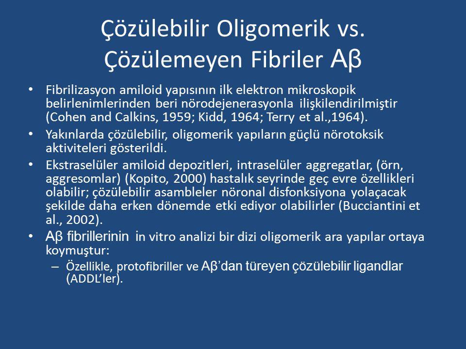 Çözülebilir Oligomerik vs. Çözülemeyen Fibriler Aβ Fibrilizasyon amiloid yapısının ilk elektron mikroskopik belirlenimlerinden beri nörodejenerasyonla