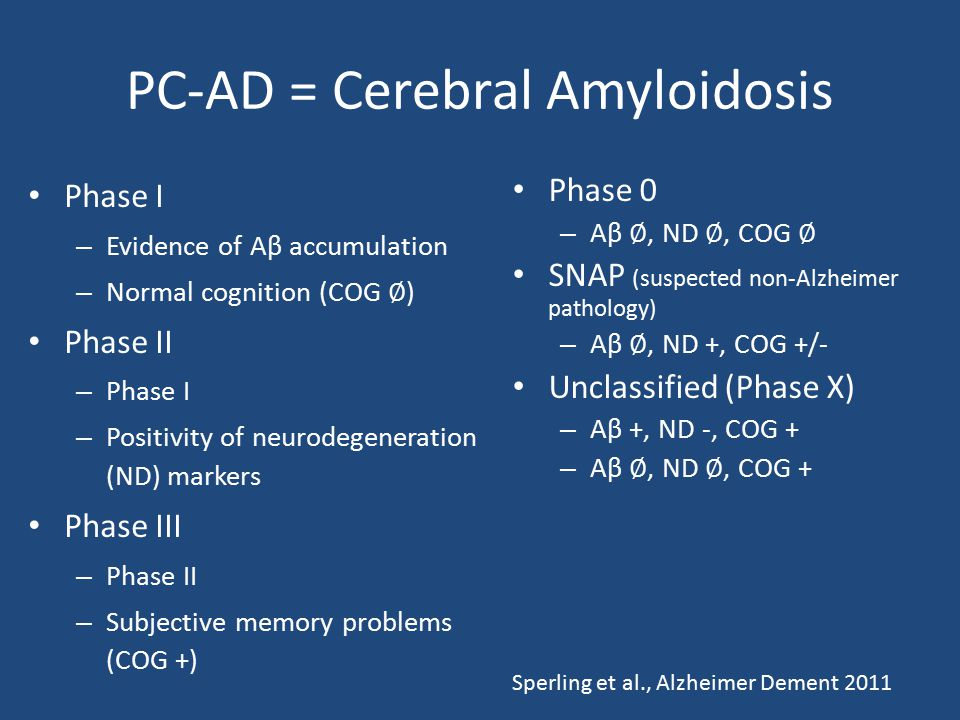 PC-AD = Cerebral Amyloidosis Phase I – Evidence of Aβ accumulation – Normal cognition (COG ∅ ) Phase II – Phase I – Positivity of neurodegeneration (N