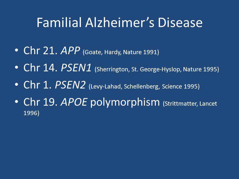 Familial Alzheimer's Disease Chr 21. APP (Goate, Hardy, Nature 1991) Chr 14. PSEN1 (Sherrington, St. George-Hyslop, Nature 1995) Chr 1. PSEN2 (Levy-La