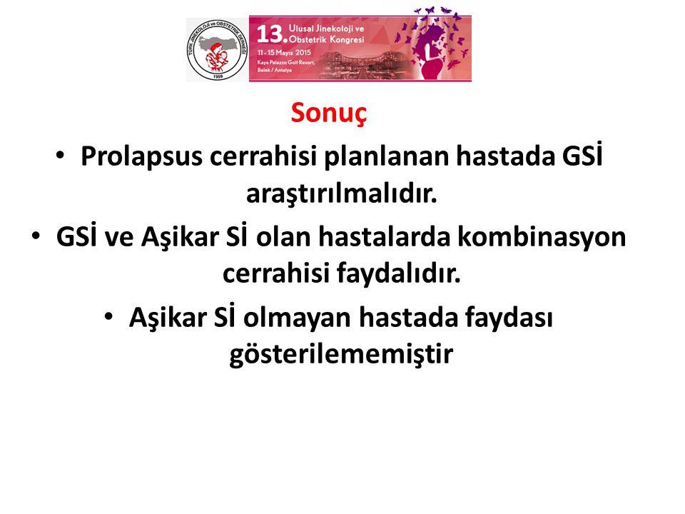 Sonuç Prolapsus cerrahisi planlanan hastada GSİ araştırılmalıdır.
