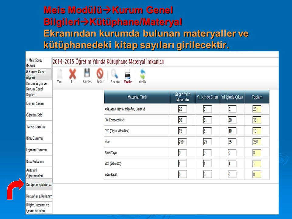 Meis Modülü  Kurum Genel Bilgileri  Kütüphane/Materyal Ekranından kurumda bulunan materyaller ve kütüphanedeki kitap sayıları girilecektir.