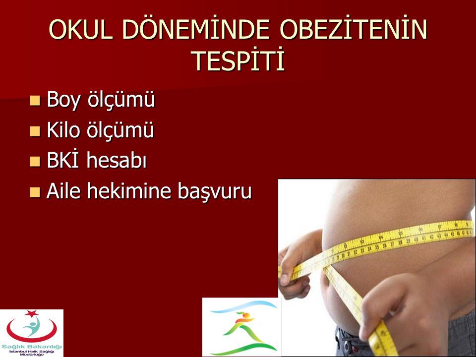 OKUL DÖNEMİNDE OBEZİTENİN TESPİTİ Boy ölçümü Boy ölçümü Kilo ölçümü Kilo ölçümü BKİ hesabı BKİ hesabı Aile hekimine başvuru Aile hekimine başvuru