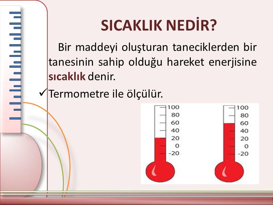 SICAKLIK NEDİR? Bir maddeyi oluşturan taneciklerden bir tanesinin sahip olduğu hareket enerjisine sıcaklık denir. Termometre ile ölçülür.