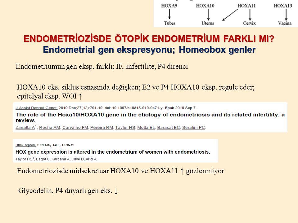 ENDOMETRİOZİSDE ÖTOPİK ENDOMETRİUM FARKLI MI? Endometrial gen ekspresyonu; Homeobox genler Endometriumun gen eksp. farklı; IF, infertilite, P4 direnci