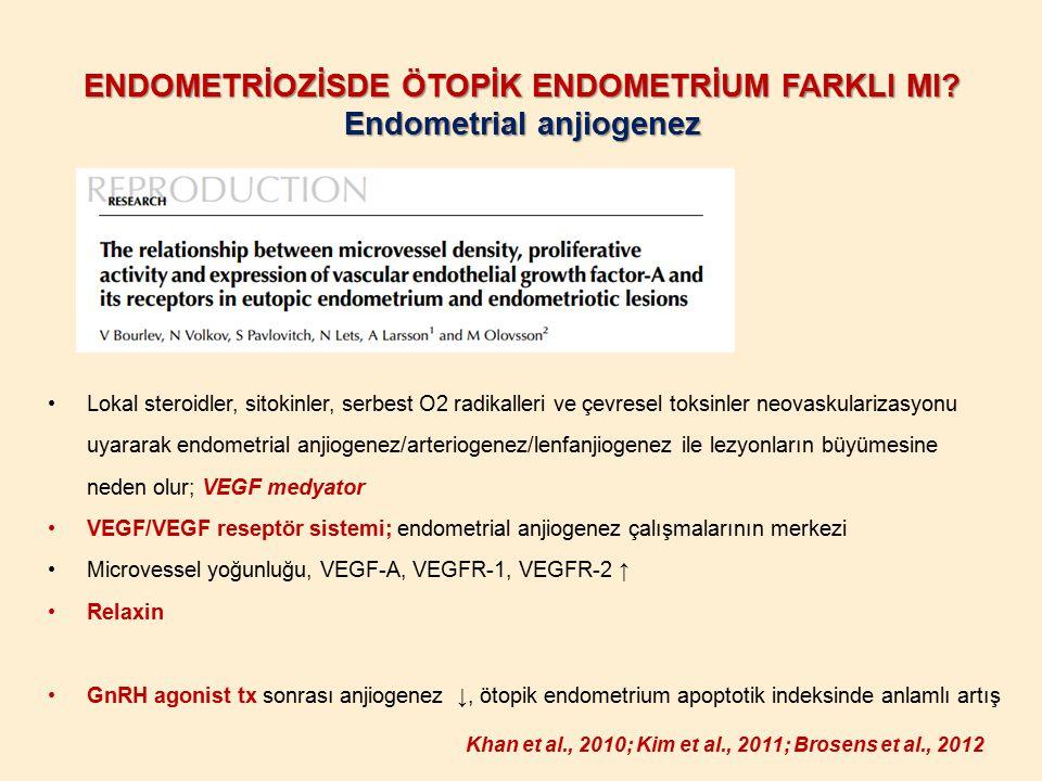 ENDOMETRİOZİSDE ÖTOPİK ENDOMETRİUM FARKLI MI? Endometrial anjiogenez Lokal steroidler, sitokinler, serbest O2 radikalleri ve çevresel toksinler neovas