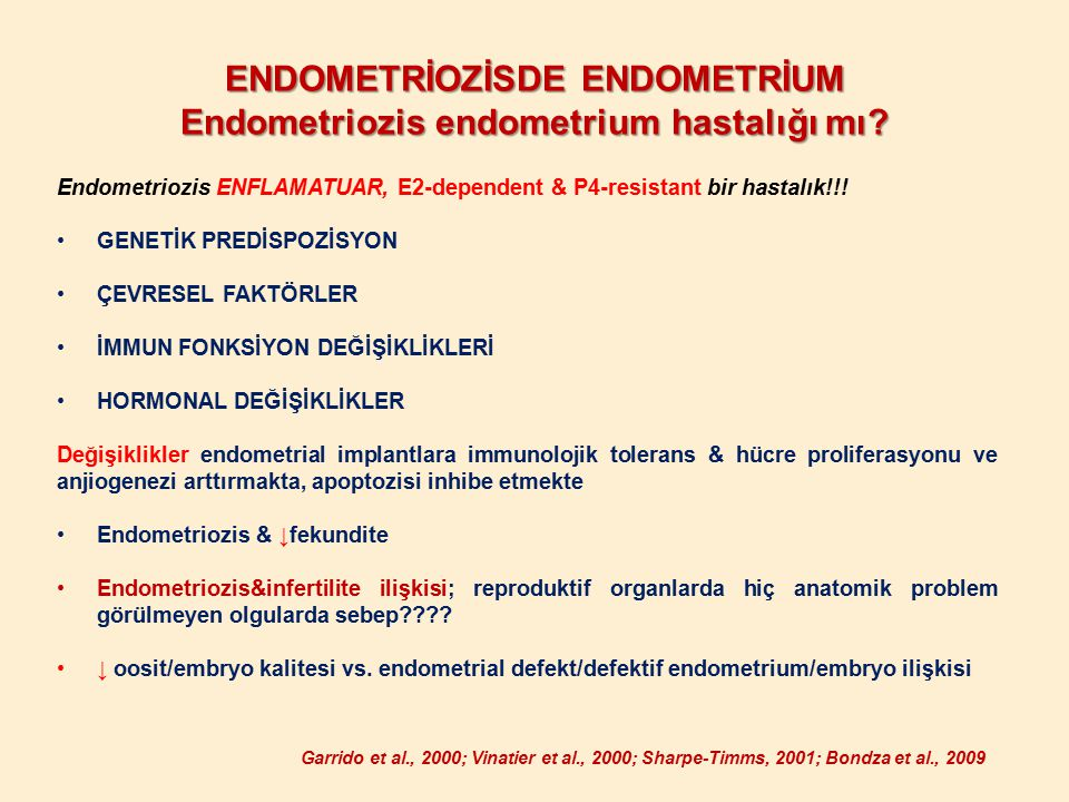 ENDOMETRİOZİSDE ENDOMETRİUM Endometriozis endometrium hastalığı mı? Endometriozis ENFLAMATUAR, E2-dependent & P4-resistant bir hastalık!!! GENETİK PRE