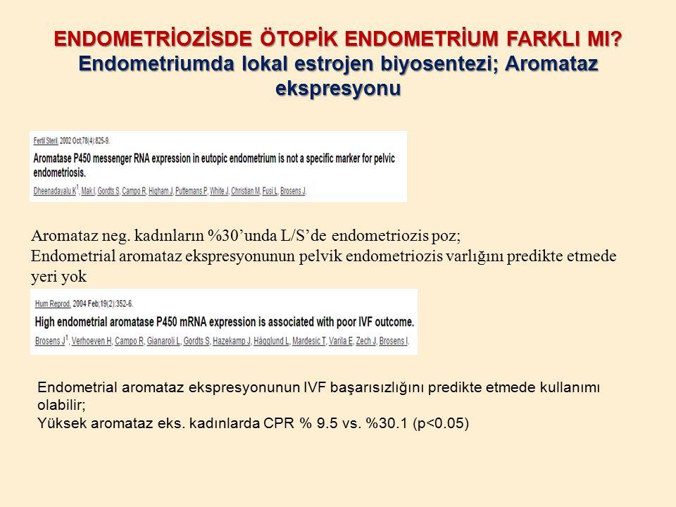 ENDOMETRİOZİSDE ÖTOPİK ENDOMETRİUM FARKLI MI? Endometriumda lokal estrojen biyosentezi; Aromataz ekspresyonu Endometrial aromataz ekspresyonunun IVF b
