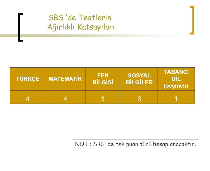 SBS 'de Testlerin Ağırlıklı Katsayıları TÜRKÇEMATEMATİK FEN BİLGİSİ SOSYAL BİLGİLER YABANCI DİL (seçmeli) 44331 NOT : SBS 'de tek puan türü hesaplanac
