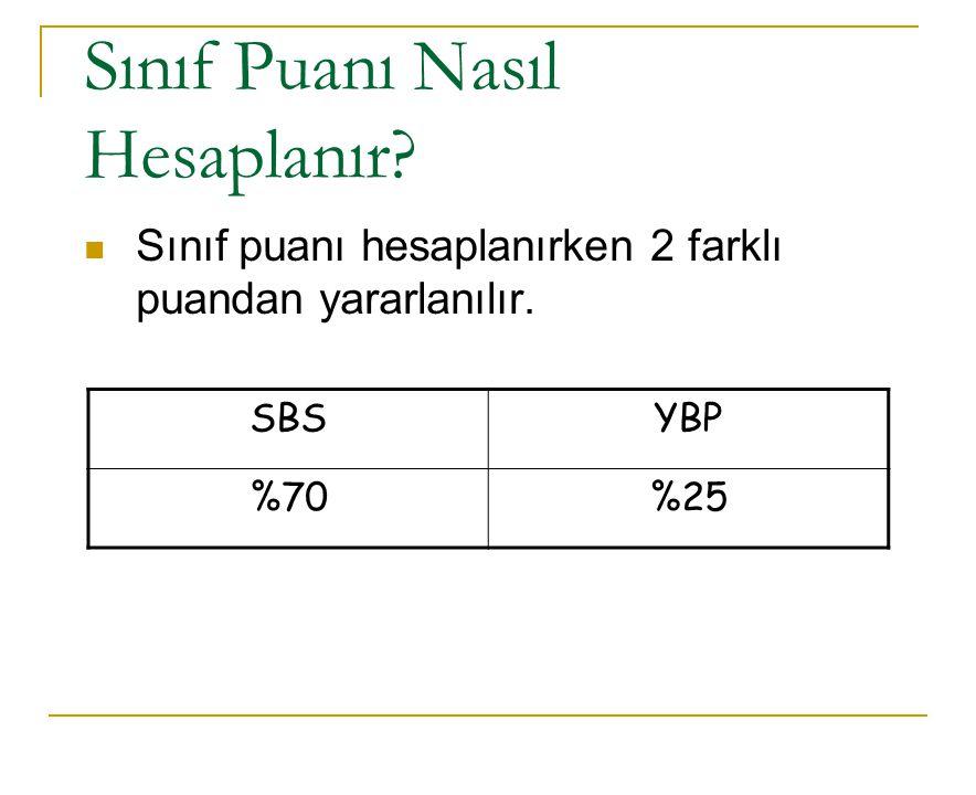 Sınıf Puanı Nasıl Hesaplanır? Sınıf puanı hesaplanırken 2 farklı puandan yararlanılır. SBSYBP %70%25
