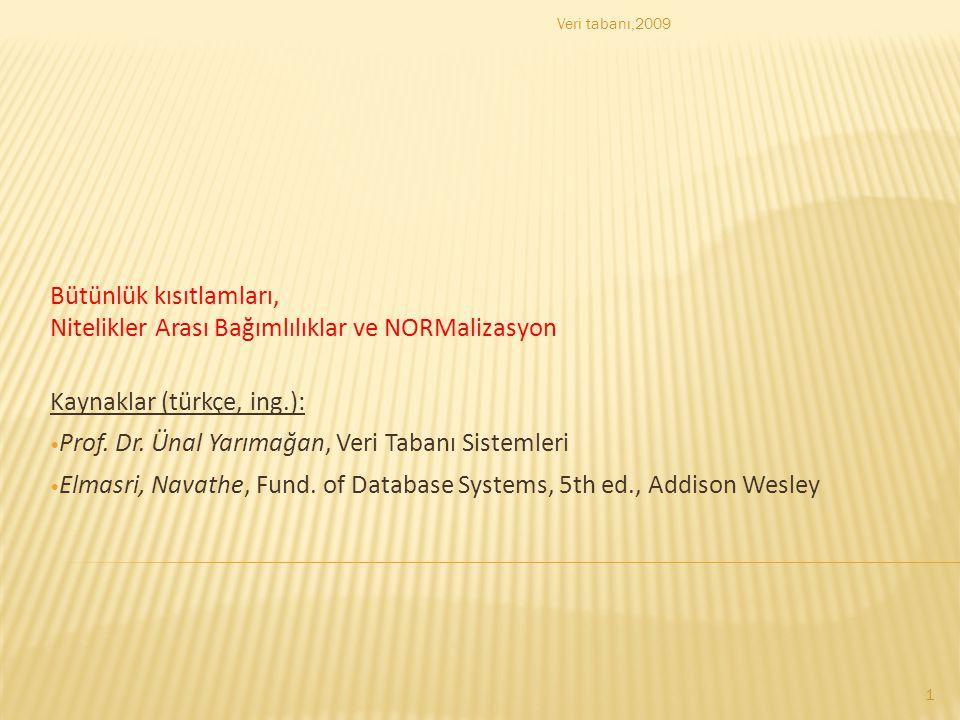 Bütünlük kısıtlamları, Nitelikler Arası Bağımlılıklar ve NORMalizasyon Kaynaklar (türkçe, ing.): Prof. Dr. Ünal Yarımağan, Veri Tabanı Sistemleri Elma